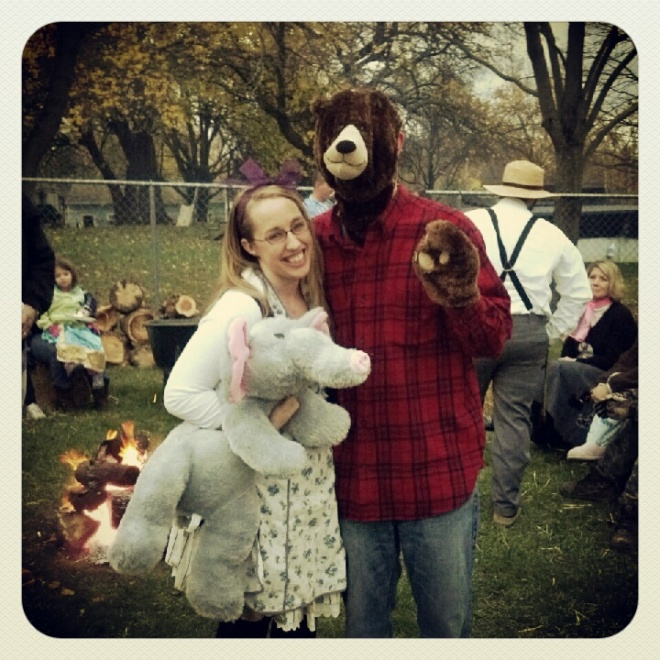 Halloween costumes last year...Goldilocks and a bear.
